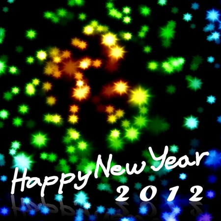 Happy New Year 2012 word with nice starry background, Greeting card background Stock Photo - 10426874