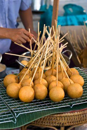 sweetmeat: Fried bread ball stick, Thai retro dessert
