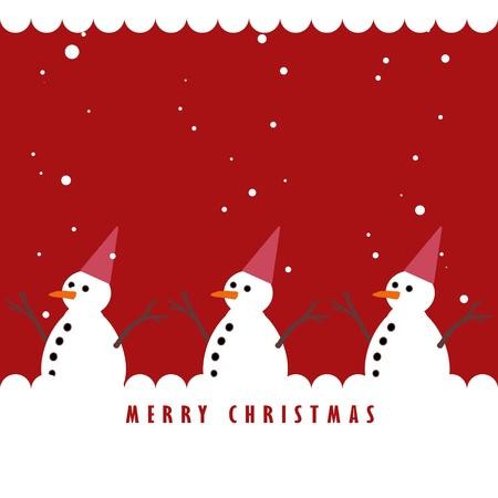 Snowman and the snowing on red background, Christmas greeting card background Stock Photo - 10525760