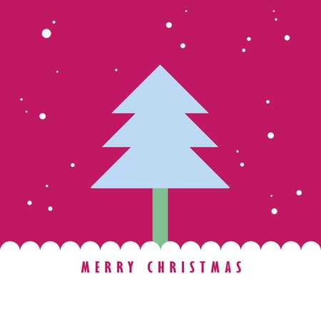 Christmas tree and snow with pink color sky, Greeting card background Stock Photo - 10552433