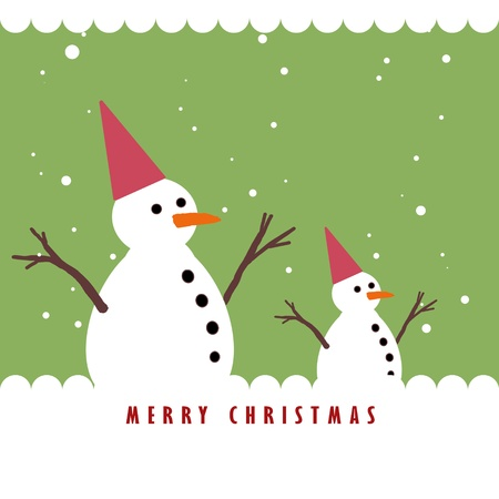 Snowman and the snowing, Christmas greeting card background Stock Photo - 10552436