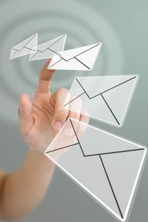 mail man: Hand choosing email with wave effect, Email concept Stock Photo