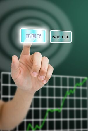grown up: Hand pushing buy button with grown up stock market graph Stock Photo