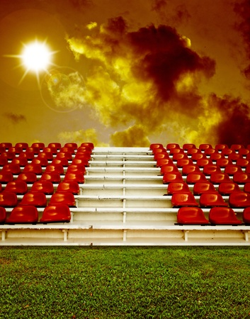 grandstand: Hot summer theme in arena , Red bleachers