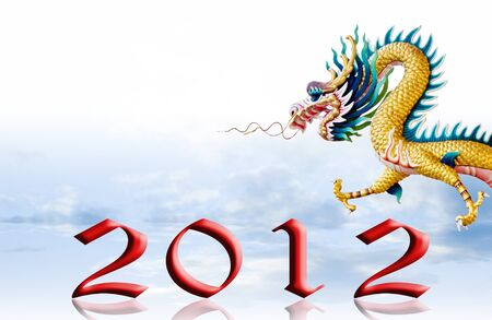 Dragons fly with 2012, New year greeting card background