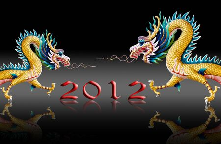 Dragons fly with 2012, New year greeting card background photo