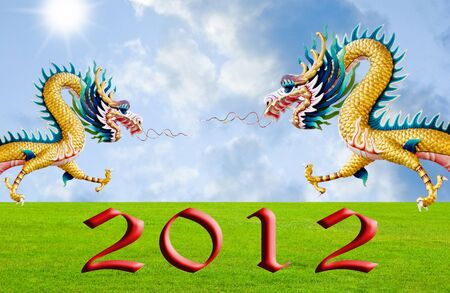 Golden dragon flying over the fields with 2010 year number, New year background Stock Photo - 10759344