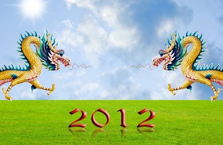 Golden dragon flying over the fields with 2010 year number, New year background photo