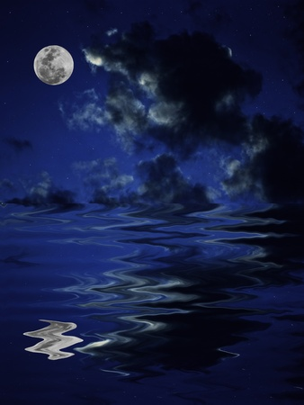 Full moon reflection in the water with night sky photo