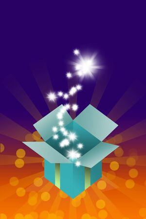 Magic box with blessing star inside on colorful background photo