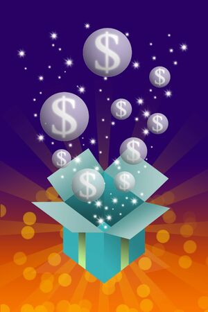Gift box with money bubble inside on colorful background photo