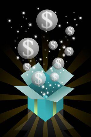 legacy: Gift box with dollar bubble inside, Bonus concept