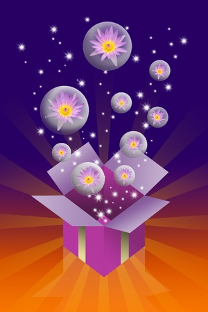 Lotus flower in bubble and gift box on colorful background, Fun concept photo