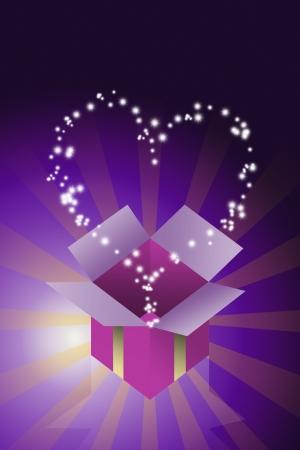 dar un regalo: Bendici�n estrella coraz�n volando de la caja de regalo con fondo de color p�rpura, el concepto de regalo