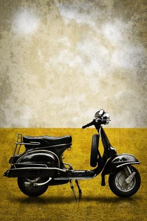 Vintage motorbike on field in retro style
