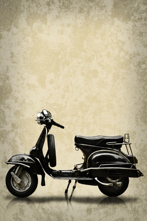 restoring: Retro motorbike on grunge background
