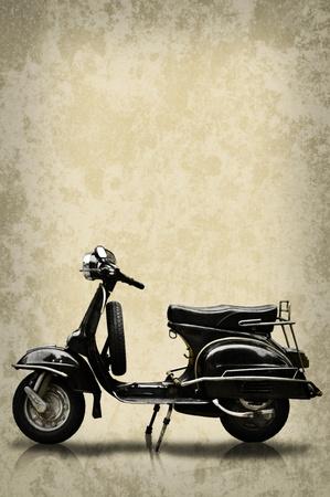 motor scooter: Retro motorbike on grunge background