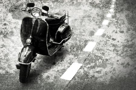 vespa: Motobike retro en el camino con el fondo de estilo grunge Foto de archivo