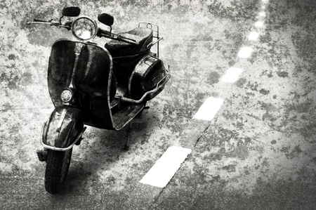 Retro motobike on the road with grunge style background