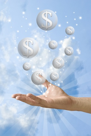christmas bonus: Money bubble flying from the hand with nice sky background, Make money concept