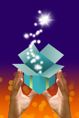 blessing: Blessing star flying out from gift box in the hand, Gift concept