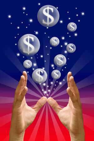 Money bubble flying from hand with color background, Bonus concept photo