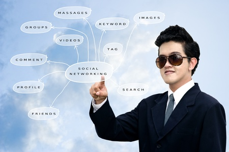 taget: Asian businessman pointed the social networking diagram, Social network concept Stock Photo