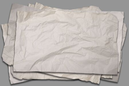 Empty old Crumpled paper on gray background photo