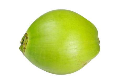 Coconut op een witte achtergrond, Side van kokos