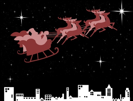Santa Claus in his sleigh over the city with bright star in the midnight sky photo
