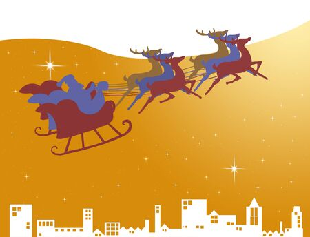 Santa Claus in his sleigh on the golden sky with star, Christmas concept photo