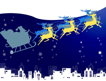 Santa Claus in his sleigh with snow and night sky over the city background, Christmas concept photo