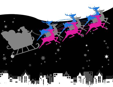 Santa with his sleigh and deers run in the sky , Christmas concept photo