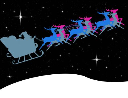 Santa Claus in his sleigh with bright star in the midnight sky, Christmas concept photo