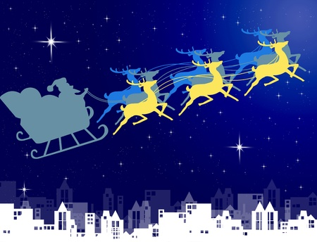 Santa Claus in his sleigh with night sky over the city background, Christmas concept photo