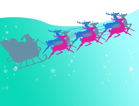 Sata claus with his sleigh run in to the snow sky, Christmas concept photo