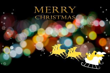 Kerstman met zijn herten op de bokeh achtergrond, Kerstmis concept van