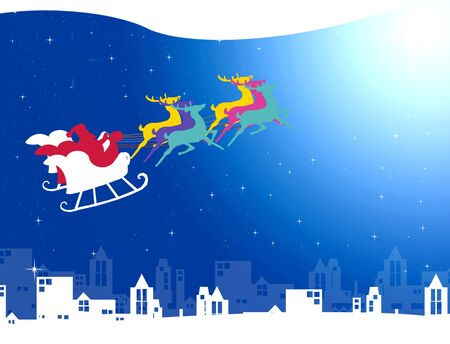 Santa claus with his sleigh in the night sky over the city, Christmas concept photo