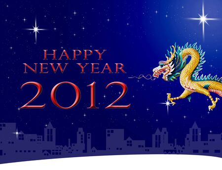 Dragon statue with city and star, New year greeting card concept photo