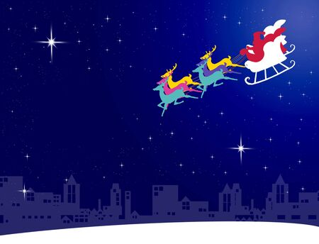 Santa claus fly with his sleigh to the city for give the gift with night sky background photo