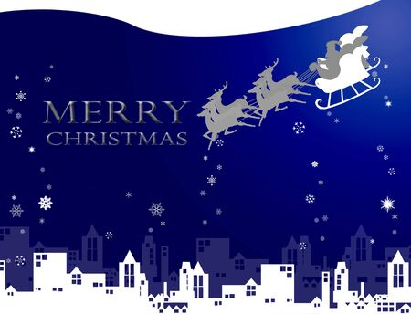 Santa claus with his sleigh over the city and snow, Christmas gift concept photo