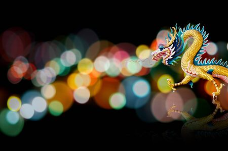 new years vacation: Dragon statue with nice lighting bokeh, Holiday background