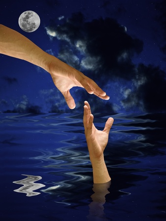 deluge: Helping hand to a drowning with night sky Stock Photo