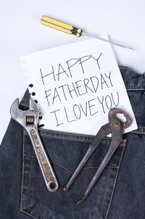 Note for dad in blue jeans. Fatherday concept. photo