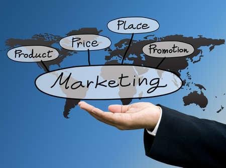 got: Businessman show the marketing concept