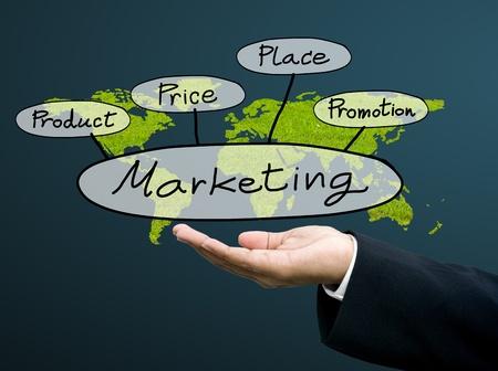 Businessman show the maketing concept with world map Standard-Bild