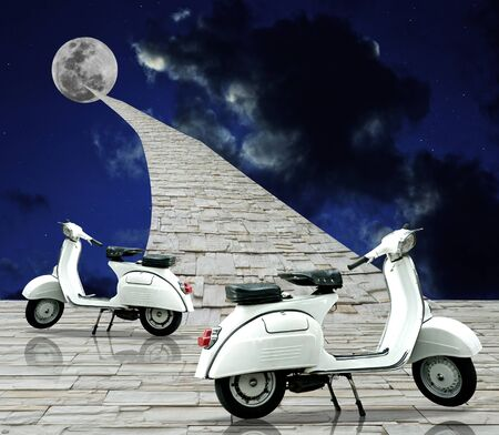 motor show: White retro scooter with stone way to the moon,