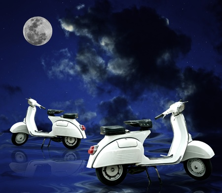 Retro scooter parking on wet floor with full moon photo