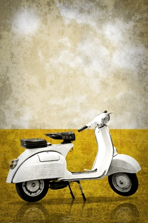 White retro vespa in retro style background photo