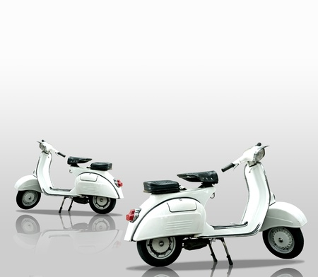 White retro motorbike on white background photo